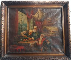 Biedermeier Flemish life picture, wine drinkers