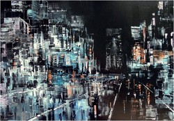City, oil painting