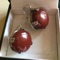 Earrings-huge polished red jasper with stone-silver
