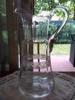 Művészi, csiszolt kézi készítésű üveg kancsó 1930-as évekből