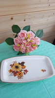Marked floral porcelain tray