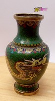 Old cloisonné dragon vase, ornament in perfect condition. Chinese specialty.