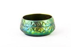 Zsolnay, circular art deco eosin green gold porcelain basket, flawless! (P175)