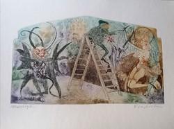 Kondor Lajos (1926-2006) / Aki az ördögöt a falra festi c. Rézkarc