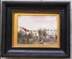 Antique marked painting: highland village