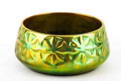 Zsolnay, circular art deco eosin green gold porcelain basket, flawless! (P176)