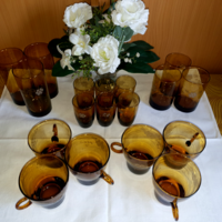 Set of polished wine, coffee and soft drinks - amber, 18 pcs
