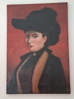 Egy kalapos nő portréja