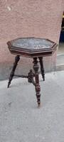 Three-legged marble tin old German table
