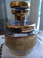 Bohemia tűzaranyozott üveg tároló