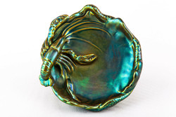 Zsolnay, lobster eosin green gold porcelain ashtray, flawless! (P169)