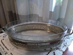 Asztalközép eredeti metszett üveg betéttel
