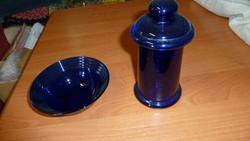 Szinesüveg, kék  tálka és magas fűszer tartó