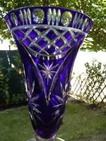 Kék ajka kristály váza