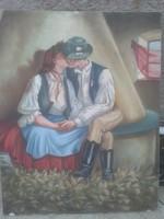 Antik festmény , szerelmespár , 1960