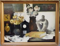 Somogyi Soma László (1927-2004) : Csendélet órákkal, Képcsarnokos