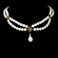 Genuine fire opal and true pearl 925 silver necklace