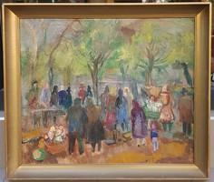 Molnár Róza (1900-1977) : Piac,Képcsarnokos