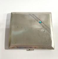 Silver cigarette case - box with blue stone - 106g