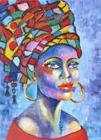 B.Tóth irisz- african woman -abstract painting 40x30cm