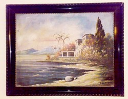 Mediterranean bay, in lost paradise, z. Zalán e. With the signature of a Hungarian painter.