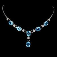 Genuine blue topaz 925 silver necklace