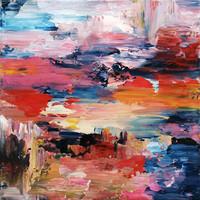 """""""Vidám ragyogás"""" 40x40cm ABSZTRAKT Modern szignózott eredeti festmény, Közvetlen a művésztől!"""