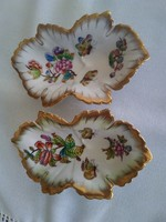 Herend grape leaf with Victorian pattern with rich gilding, excellent mark!
