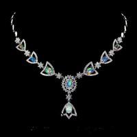 Genuine fire opal 925 silver necklace