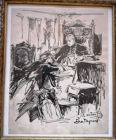 Ink drawing by Ferenc Márton (1884-1940)