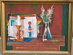 Óvári László (1926-1988) : Csendélet,Képcsarnokos