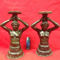 Pair of antique bronze female nude luminaires with candlesticks.
