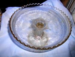 Nagyméretű talpas üveg tortás tál