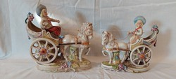 2 Porcelain chariot porcelain sculptures with figures are flawless