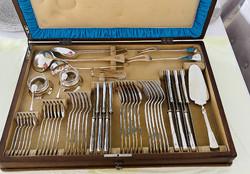 Ritkaság 6 Személyes Ezüst Étkészlet Intarziás Fa Dobozban !