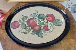 Antique wooden framed, tabbed tray with needlework interior