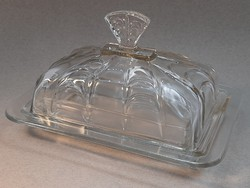 Old glass butter holder