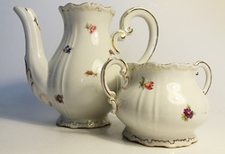 Old zsolnay porcelain teapot with floral baroque pouring sugar bowl 2 pcs