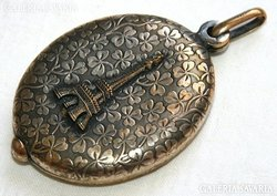 Antik Francia Aranyozott Ezüst Tükrös Medál Hatalmas !