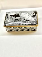 21 K aranyozott Hollóházi Szász Endre porcelán bonbonier