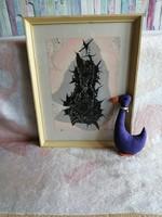 21180A12 Absztrakt akvarell festmény Hámori szignóval