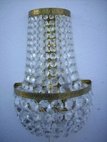 Empire crystal wall lamp with 3-burner pull switch