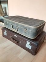 Original volcanic fiber suitcase from the 60's and a small checkered suitcase