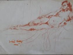 Erika Juhász: red female nude, pastel, original marked