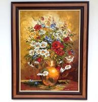 Simon béla daisies and poppies framed 70x55cm