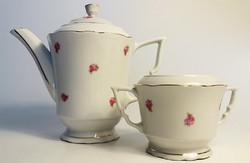 Old zsolnay porcelain rose coffee pot pouring sugar holder 2 pcs