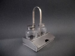 Silver-plated bauhaus with salt and pepper. And toothpick holder with engraved bottles, 1950s