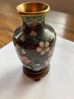 Régi cloisonné virágmintás miniatűr kínai váza