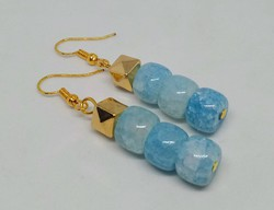 Blue dragon vein agate mineral earrings with gold-colored fittings
