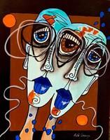 Pető bells ++ 50x40 always together ++ modern figural ++ acrylic painting